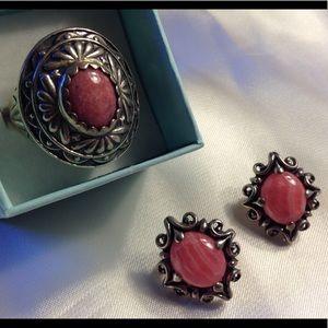 Rhodochrosite Sterling Silver Ring & Earrings MINT